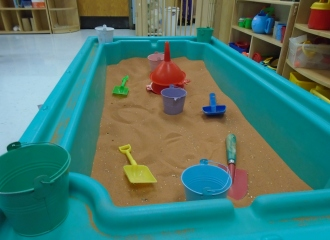 sandbox inside preschool